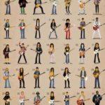 Genios de la guitarra caricaturizados