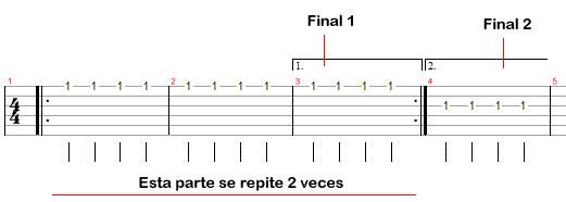 Barras de repetición con dos finales distintos